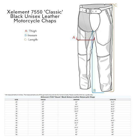 Image of Xelement 7550 'Classic' Black Unisex Leather Motorcycle Chaps