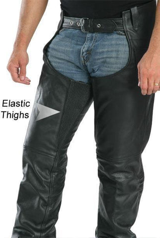 Image of Xelement 7554 Men's Black Advanced Dual Comfort Leather Chaps