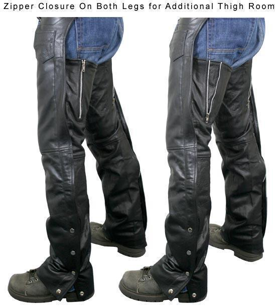 Xelement 7554 Men's Black Advanced Dual Comfort Leather Chaps