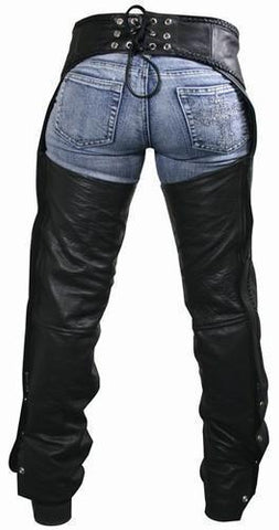 Image of Xelement 7701 Women's Black Braided Leather Chaps