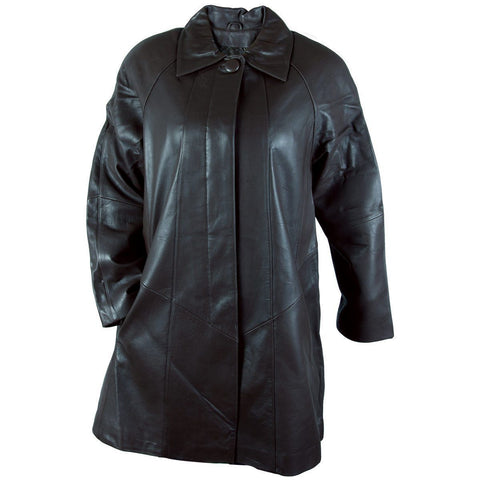 Image of Ladies Lucky Leather 80 Black Soft Touch Supple Lambskin Leather Coat