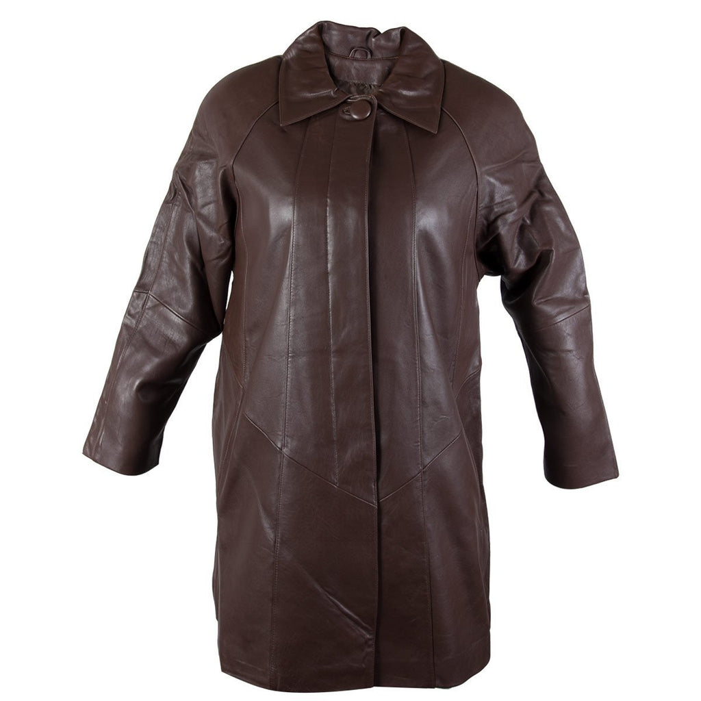 Ladies Lucky Leather 80 Chocolate Brown Soft Touch Supple Lambskin Leather Coat