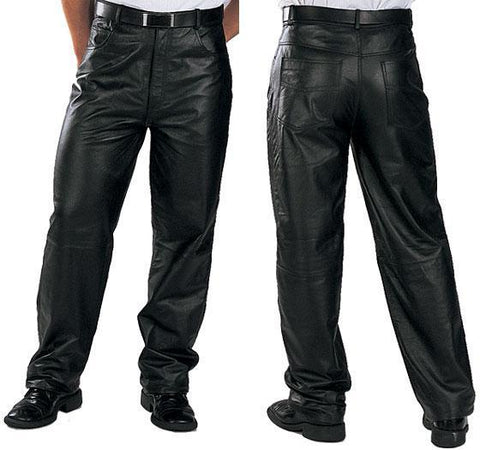 Image of Xelement 860 'Classic' Men's Black Loose Fit Leather Pants