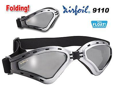 Image of Airfoil Black Silver Foldable Silver Goggles With Silver Mirror Lens and UV 400 Protection