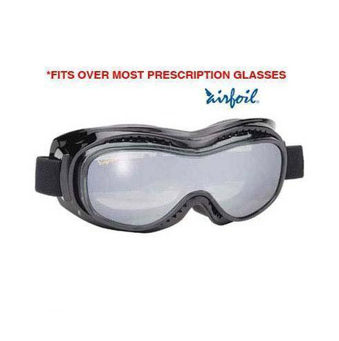 Image of Airfoil Black Goggles With Anti Fog Smoke Silver Mirror Polycarbonate Lens With UV 400 Protection