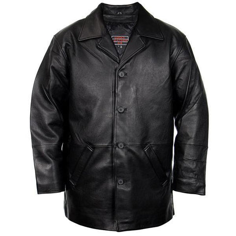 Lucky Leather 960C Men's Black Cowhide Leather Car Coat