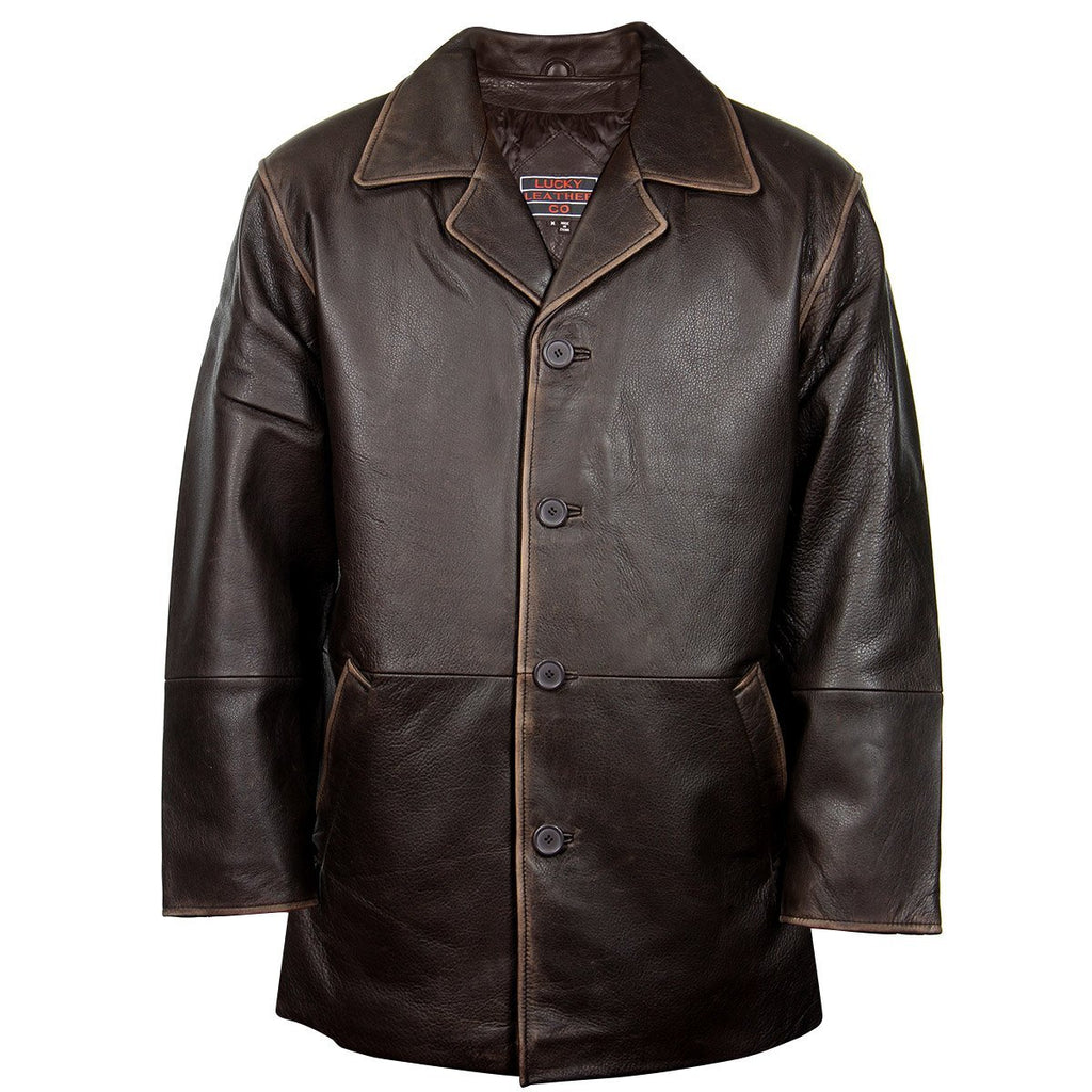 Lucky Leather 960C Men's Brown Cowhide Leather Car Coat