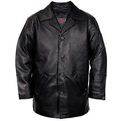 Image of Lucky Leather 960C Men's Brown Cowhide Leather Car Coat