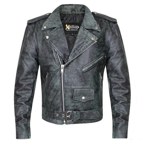 Xelement B7166 'Classic' Black With Grey Premium Distressed Leather Motorcycle Jacket