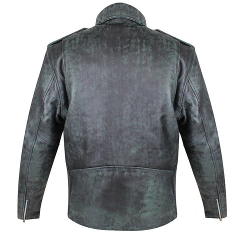 Image of Xelement B7166 'Classic' Black With Grey Premium Distressed Leather Motorcycle Jacket