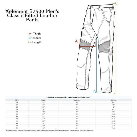 Image of Xelement B7400 'Classic' Men's Fitted Leather Pants