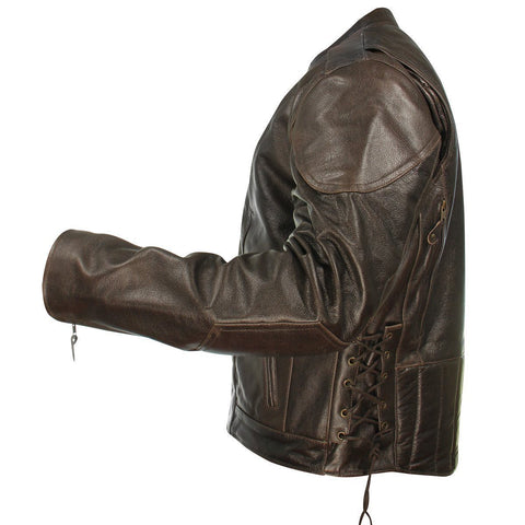 Image of Xelement B7203 Men's 'Speedster' Retro Brown Premium Leather Motorcycle Jacket with Zip Out Lining