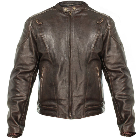 Xelement B7203 Men's 'Speedster' Retro Brown Premium Leather Motorcycle Jacket with Zip Out Lining