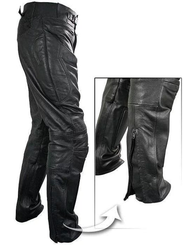 Image of Xelement B7466 Men's Black Armored Cowhide Leather Racing Pants