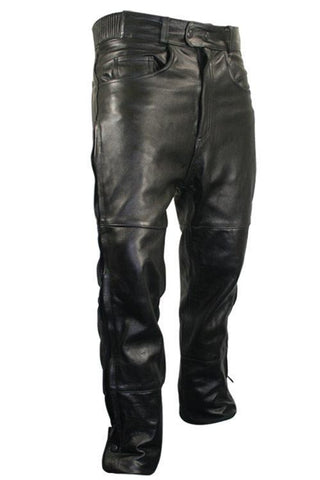 Image of Xelement B7470 Men's Black Premium Leather Motorcycle Overpants with Side Zipper and Snaps