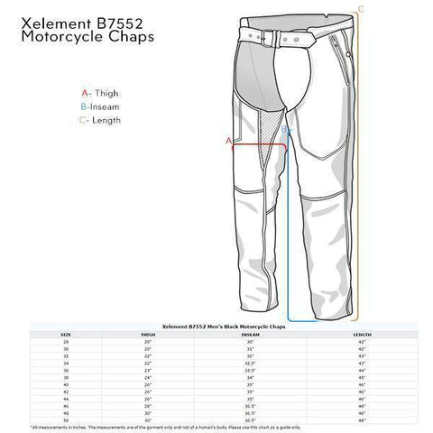 Image of Xelement B7552 Men's Black Easy Fit Premium Motorcycle Chaps