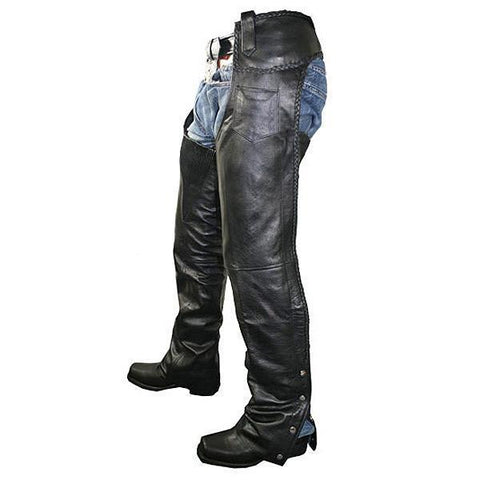 Xelement B7555 Classic Men's Black Braided Elastic Fit Leather Chaps