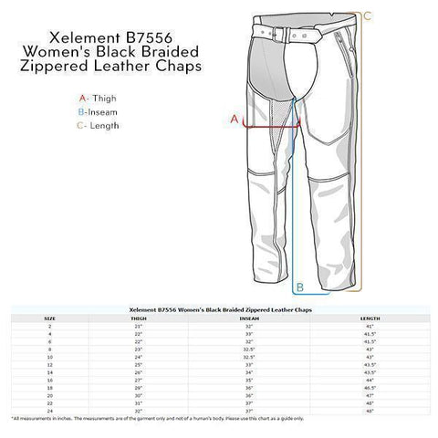 Image of Xelement B7556 Women's Black Braided Zippered Leather Chaps
