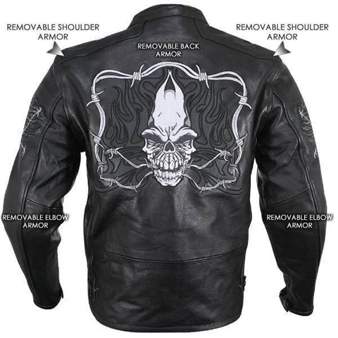 Image of Xelement B95010 Men's Black Armored Cruiser Motorcycle Jacket with Reflective Evil Triple Flaming Skulls