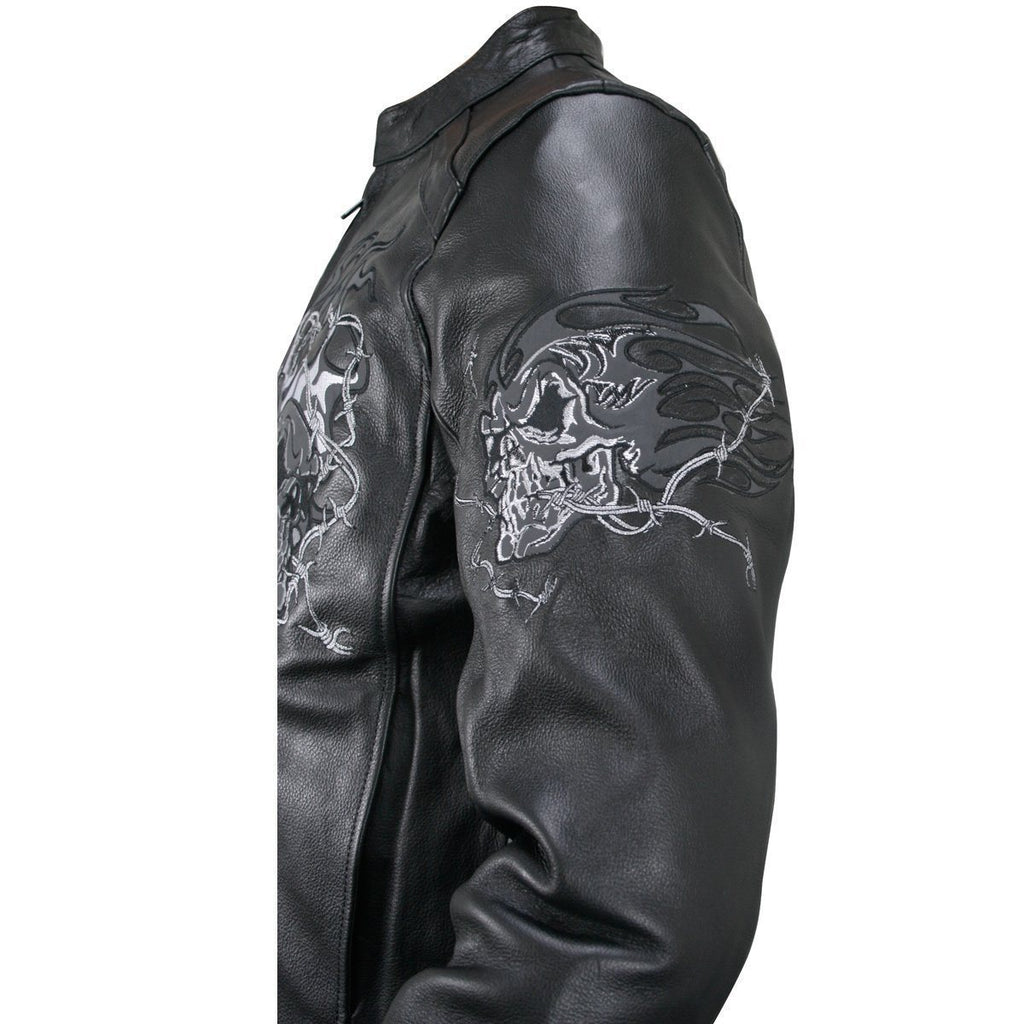 Xelement B95010 Men's Black Armored Cruiser Motorcycle Jacket with Reflective Evil Triple Flaming Skulls