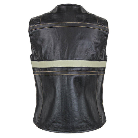 Image of Xelement BXU1903VT Women's Brown Leather Touring Biker Vest