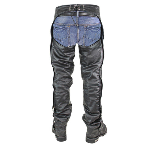 Image of Xelement BXU3026CL 'Drifter' Men's Black Leather Chaps