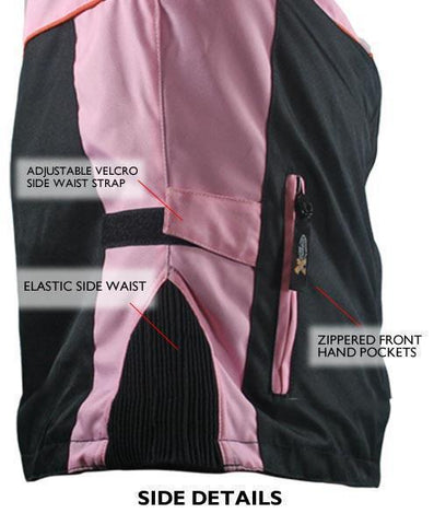 Image of Xelement CF462 Women's Black/Pink Tri-Tex Fabric Motorcycle Jacket with Advanced Level-3 Armor