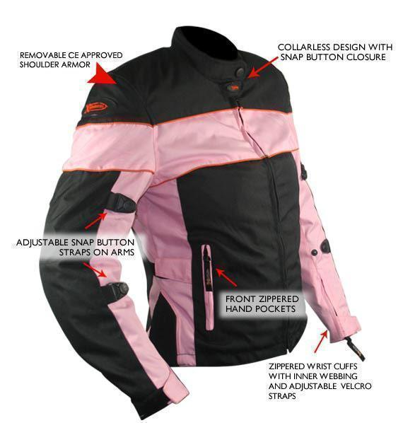 Xelement CF462 Women's Black/Pink Tri-Tex Fabric Motorcycle Jacket with Advanced Level-3 Armor