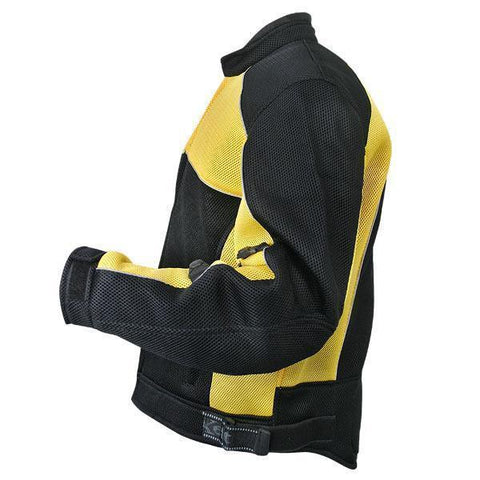 Image of Xelement CF509 Men's Black/Yellow Armored Mesh Jacket