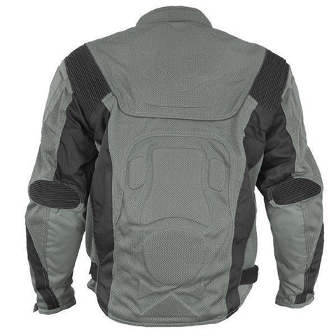 Image of Xelement CF6019 'Invasion' Men's Gray/Black Mesh Armored Motorcycle Jacket with Gun Pocket