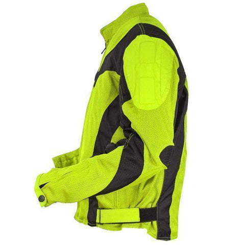 Image of Xelement CF-6019-66 'Invasion' Men's Neon Green Mesh Armored Motorcycle Jacket