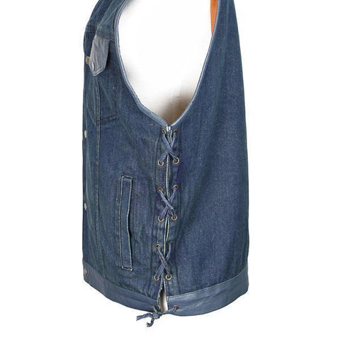 Image of Xelement DMX2240 Men's Blue Denim Lace Gun Pocket Vest