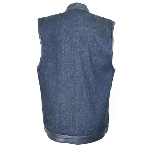 Xelement DMX2242 Men's Blue Denim Mid Collar Gun Pocket Vest