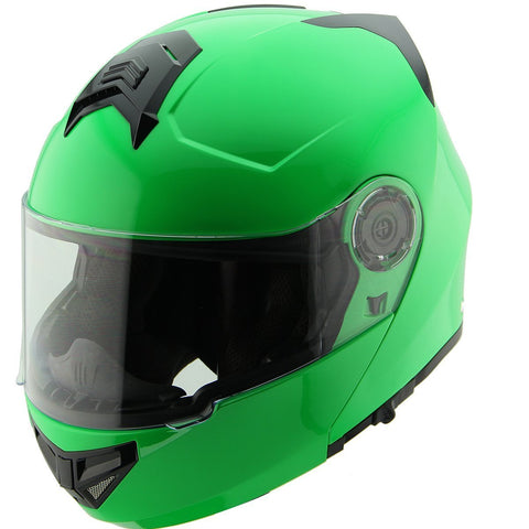 Image of Hawk H-70 Solid Neon Green Modular Motorcycle Helmet