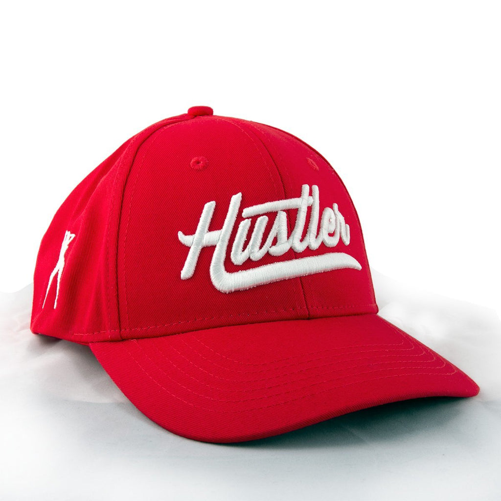 Officially Licensed Hustler Classic Baseball Red Twill Cap with White 3D Puff Hustler Embroidered Logo