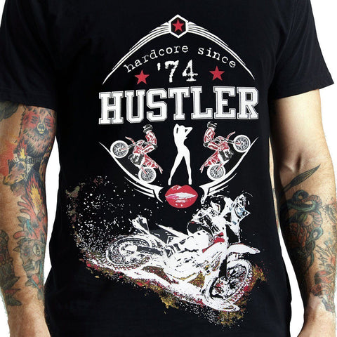 Men's Officially Licensed Hustler HST-500'Hard Core Motocross' Black T-Shirt