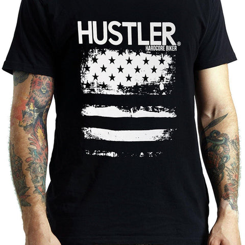 Men's Officially Licensed Hustler HST-510 'Hustler Hard Core Biker Flag' Black T-Shirt