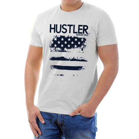 Image of Men's Officially Licensed Hustler HST-510 'Hustler Hard Core Biker Flag' White T-Shirt