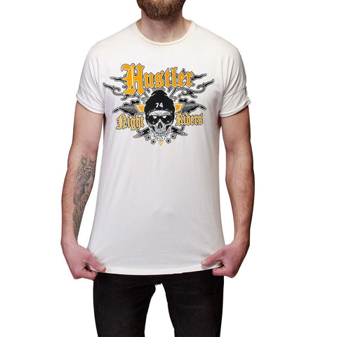 Men's Officially Licensed Hustler HST-520 'Hustler Night Riders' White T-Shirt