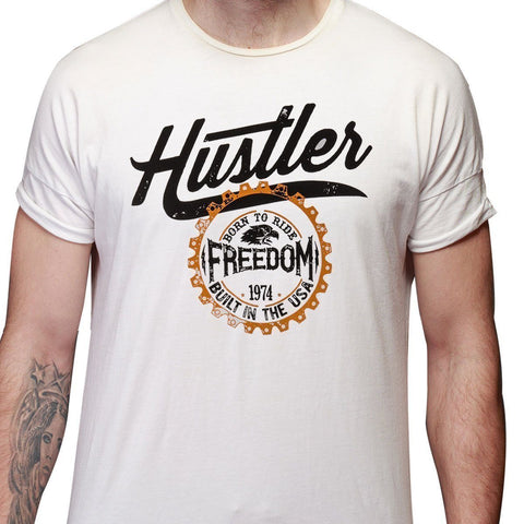 Men's Officially Licensed Hustler HST-540 'Born to Ride Freedom' White T-Shirt
