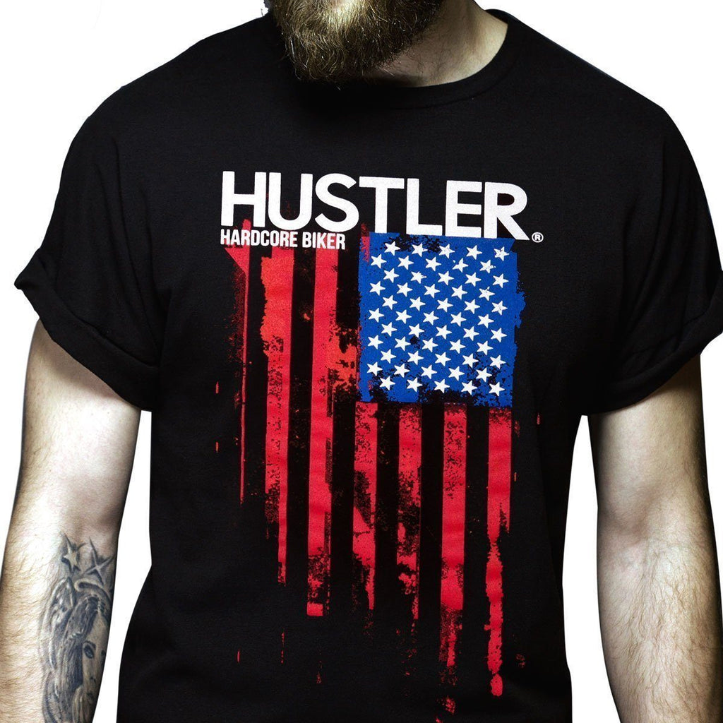 Men's Officially Licensed Hustler HST-560 'Hardcore Biker Color Flag' Black T-Shirt