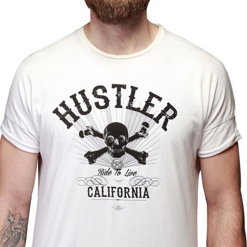 Image of Men's Officially Licensed Hustler HST-580 'Ride To Live' White T-Shirt