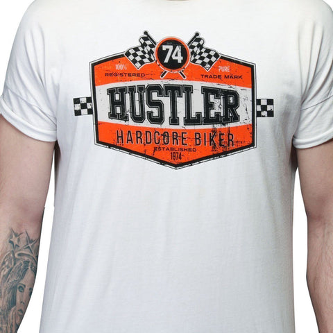 Men's Officially Licensed Hustler HST-590 'Hardcore Biker' White T-Shirt