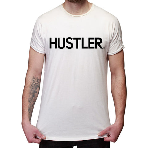 Image of Men's Officially Licensed Hustler HST-600 'Hustler Logo' White T-Shirt