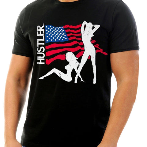 Image of Men's Officially Licensed Hustler HST-620 'USA Flag and Girls' Black T-Shirt