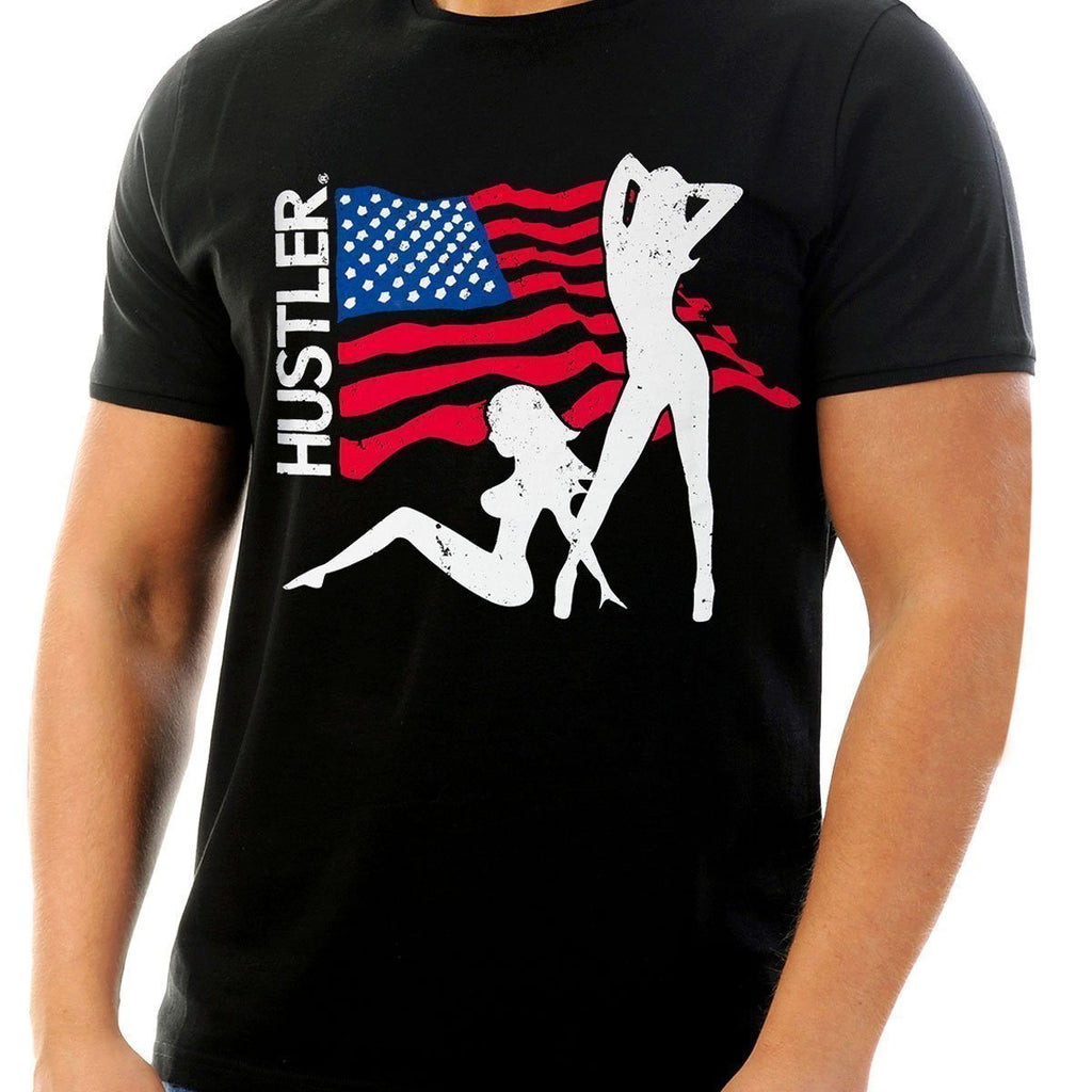 Men's Officially Licensed Hustler HST-620 'USA Flag and Girls' Black T-Shirt