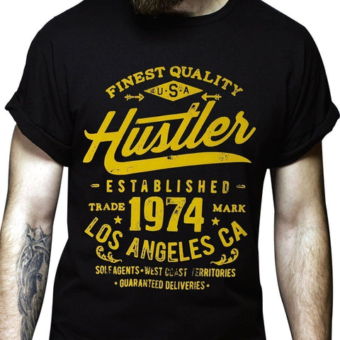 Image of Men's Officially Licensed Hustler HST-630 'Finest Quality Established 1974' Black T-Shirt
