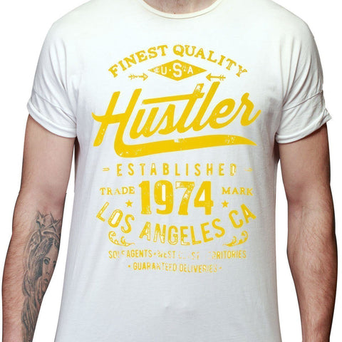 Men's Officially Licensed Hustler HST-630 'Finest Quality Established 1974' White T-Shirt