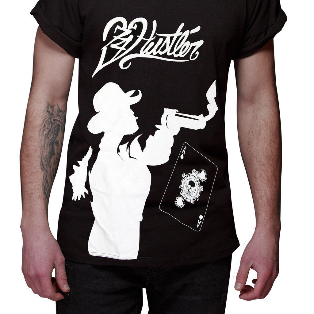 Men's Officially Licensed Hustler HST-640 'Hustler Gambler' Black T-Shirt