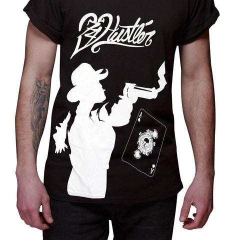 Image of Men's Officially Licensed Hustler HST-640 'Hustler Gambler' Black T-Shirt